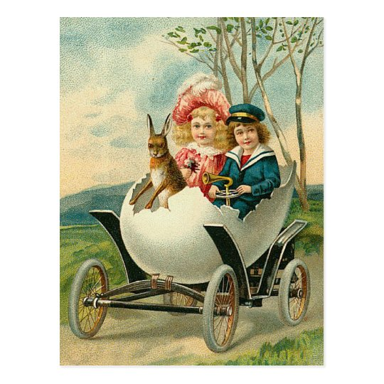 Happy Easter To You Eggshell Car Vintage Postcard