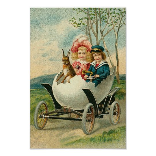 Happy Easter To You Eggshell Car Vintage Poster