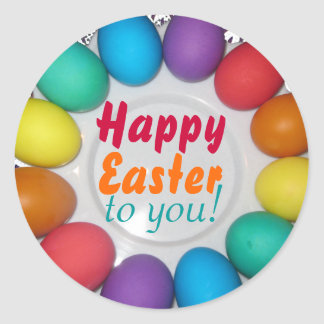 Happy Easter to you! Rainbow Easter Classic Round Sticker