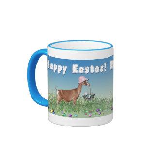 Happy Easter Toggenburg Goat with Easter Basket Ringer Coffee Mug