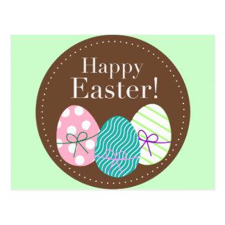 Happy Easter Triple Eggs Postcard
