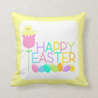 Happy Easter Tulip Chicks Throw Pillow