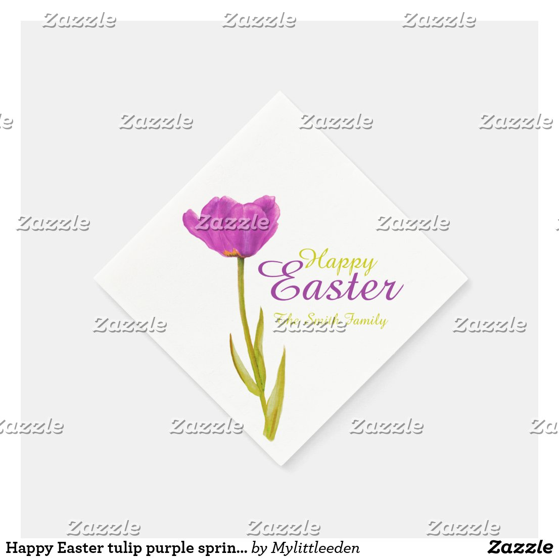 Happy Easter tulip purple spring name paper napkin