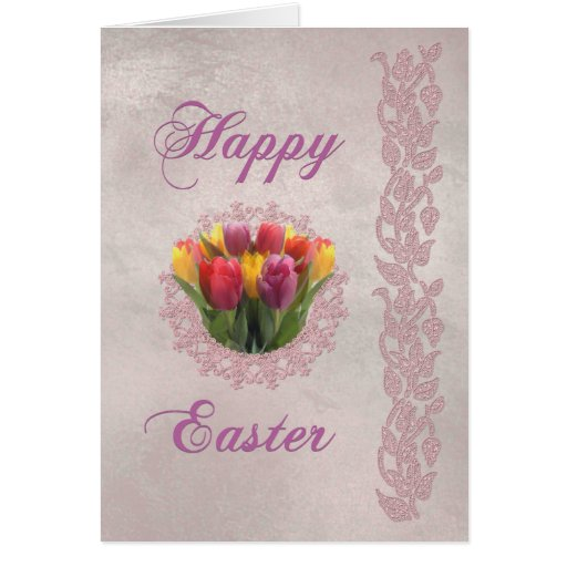 Happy Easter Tulips and Lace Greeting Card