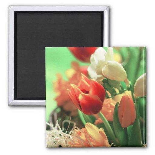 Happy Easter Tulips Fridge Magnets