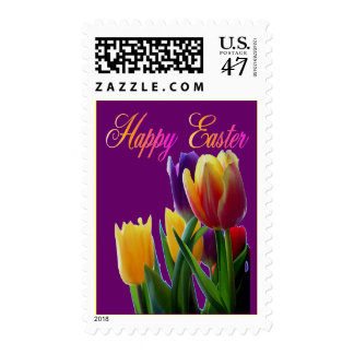 Happy Easter Tulips Postage Stamp