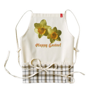 Happy Easter! Two yellow Daffodils 2.2.2.T Zazzle HEART Apron