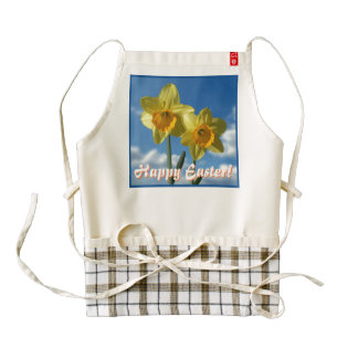 Happy Easter! Two yellow Daffodils 2.2 Zazzle HEART Apron