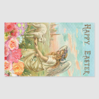 Happy Easter Typography Vintage Angel Lamb Rectangular Sticker