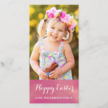 """Happy Easter Vertical Photo Card<br><div class=""""desc"""">Send sweet greetings this Easter!  Photo Card features white text over a watercolor pink / peach background.  Easy to customize!  Please replace the template photo prior to purchasing. :)</div>"""