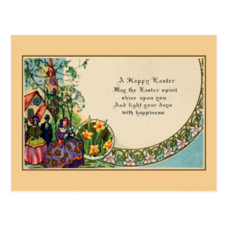 Easter poem gifts on zazzle happy easter victorian people church verse postcard negle Choice Image