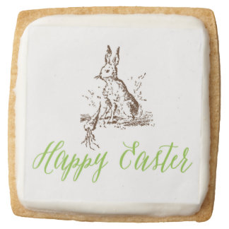 Happy Easter Vintage Bunny Cookies Square Premium Shortbread Cookie