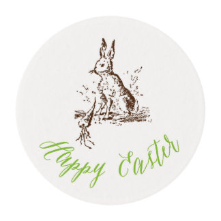 Happy Easter Vintage Bunny Frosting Round