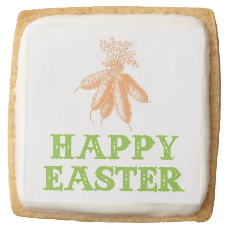 Happy Easter Vintage Carrots Square Shortbread Cookie