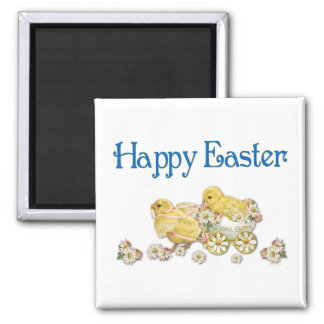 Happy Easter Vintage Chicks and Daisies Art 2 Inch Square Magnet