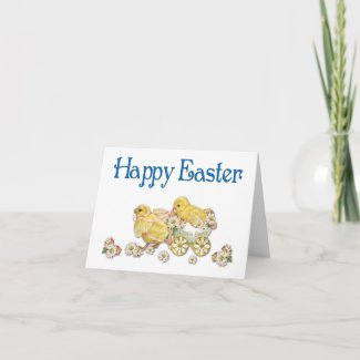 Happy Easter Vintage Chicks and Daisies Art card
