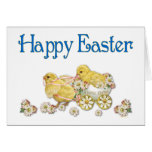 Happy Easter Vintage Chicks and Daisies Art Greeting Card