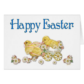 Happy Easter Vintage Chicks and Daisies Art Cards