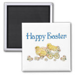 Happy Easter Vintage Chicks and Daisies Art Fridge Magnets