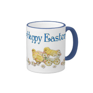 Happy Easter Vintage Chicks and Daisies Art Coffee Mugs