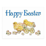 Happy Easter Vintage Chicks and Daisies Art Postcard
