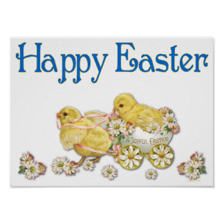 Happy Easter Vintage Chicks and Daisies Art Poster