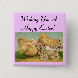 Happy Easter Vintage Chicks Pin