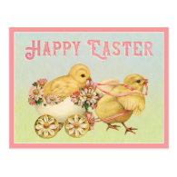 Happy Easter Vintage Chicks Postcard