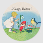 Happy Easter Vintage Elves Eggs Classic Round Sticker