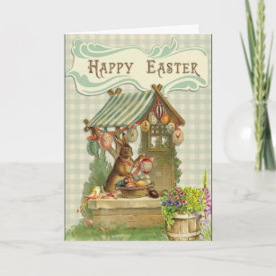Vintage easter hare gifts on zazzle happy easter vintage victorian bunny eggs card negle Images