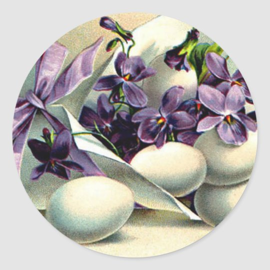 Happy Easter Violets & Eggs Vintage Classic Round Sticker