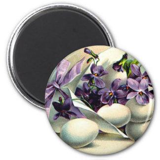 Happy Easter Violets & Eggs Vintage Magnet