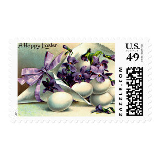 Happy Easter Violets & Eggs Vintage Postage Stamp