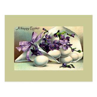 Happy Easter Violets Eggs Vintage Post Cards