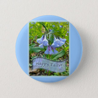 Happy Easter Virginia Bluebells Button