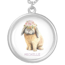 Happy Easter Watercolor Floral Bunny Rabbit Silver Plated Necklace