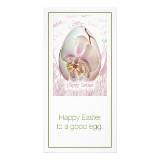Happy Easter - White and Pink Orchid on Easter Egg Card