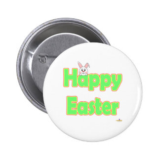 Happy Easter White Bunny Pinback Button