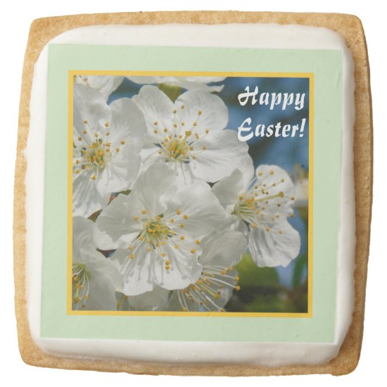 Happy Easter! White cherry Blossoms 01.2 Square Shortbread Cookie