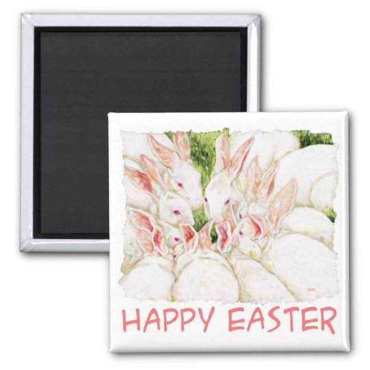 Happy Easter - White Rabbits Magnet