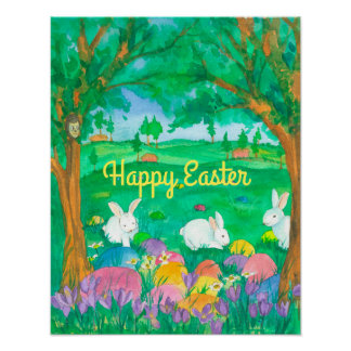Happy Easter White Rabbits Poster