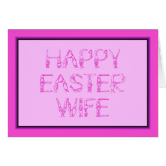 HAPPY EASTER WIFE BUNNY RABBITS PINK CARD
