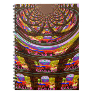Happy Easter wishes Greetings Seamless graphics ar Spiral Notebook