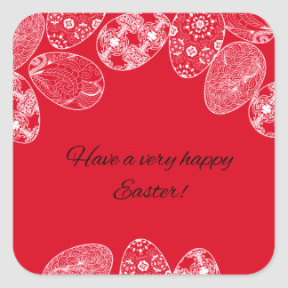 Happy Easter Wishes with White Laced Eggs on Red Square Sticker