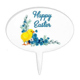 Happy Easter With a Baby Chick Cake Topper