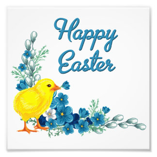 Happy Easter With a Baby Chick Photograph