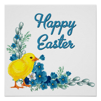 Happy Easter With a Baby Chick Poster
