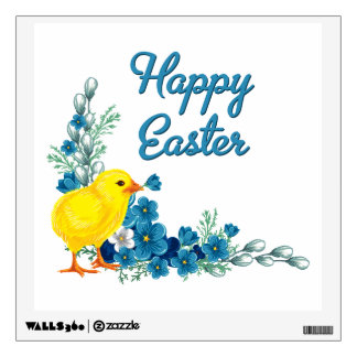 Happy Easter With a Baby Chick Wall Sticker