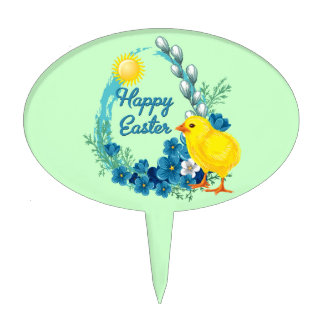 Happy Easter With Baby Chick Cake Toppers
