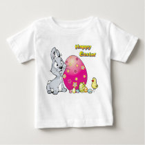 Happy Easter With Baby Chick & Easter Bunny Baby T-Shirt